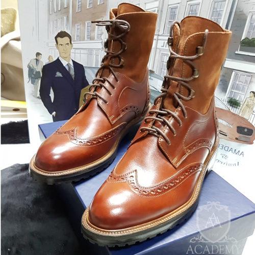 Ботинки из кожи и замши с перфорацией ACADEMY BT9961