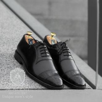 Туфли классические Academy T9025 с отделкой из кожи крокодила