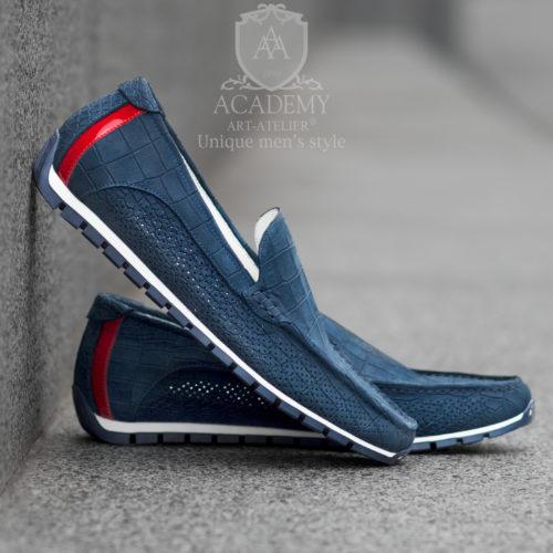 Мокасины замшевые синего цвета с имитацией крокодиловой кожи Suitium M9940