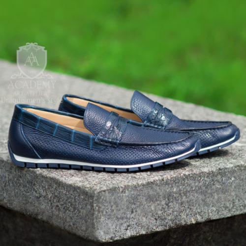 Кожаные мокасины темно-синие с вставками из крокодиловой кожи Suitium M9941