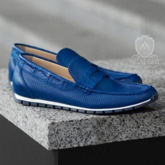 Кожаные мокасины синего цвета с вставками из крокодиловой кожи Suitium M9944
