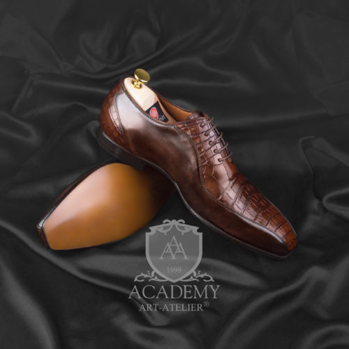 Оксфорды коричневые с крокодиловой кожей ACADEMY T9022