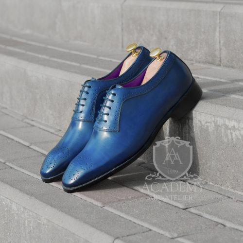 Кожаные оксфорды синего цвета ACADEMY T9927