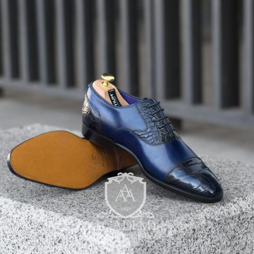 Кожаные оксфорды комбинированные синие ACADEMY T9929